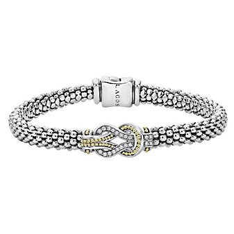 Lagos Sterling Silver & 18K Yellow Gold Diamond Newport Bracelet