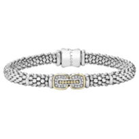 Lagos_Sterling_Silver_&_18K_Yellow_Gold_Diamond_Cushion_Caviar_Bracelet