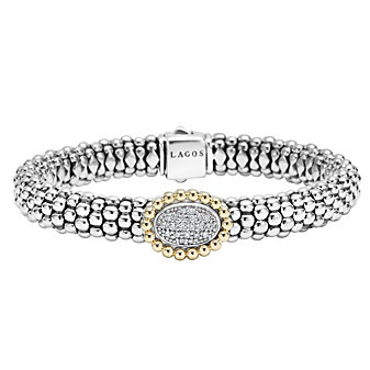 Lagos Sterling Silver & 18K Yellow Gold Round Diamond Oval Station & Caviar Bracelet