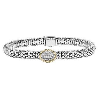 Lagos 18K Yellow Gold & Sterling Silver Diamonds & Caviar Bracelet