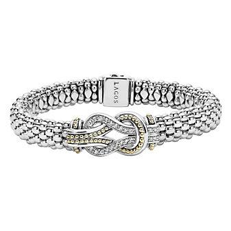 Lagos Sterling Silver & 18K Yellow Gold Diamond Newport Caviar Knot Bracelet