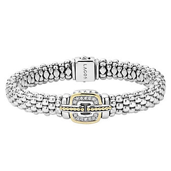 Lagos Sterling Silver Cushion Diamond Caviar Bracelet