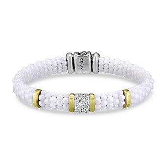 Lagos Sterling Silver, 18K & Diamond White Caviar Bracelet