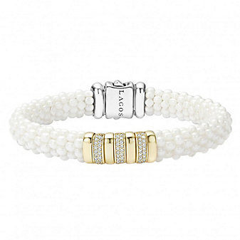 Lagos White Caviar Diamond Beaded Bracelet