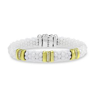 Lagos Sterling Silver & 18K White Ceramic Diamond Three Bar Caviar Bracelet