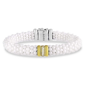 Lagos Sterling Silver & 18K White Caviar Diamond Bracelet