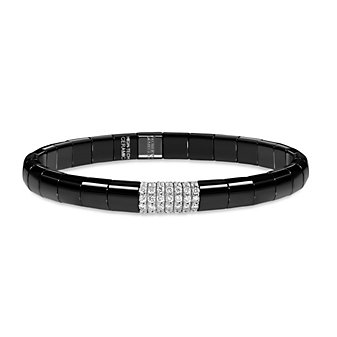 Roberto Demeglio 18K White Gold Black Ceramic Round Diamond Single Station Thin Stretch Bracelet