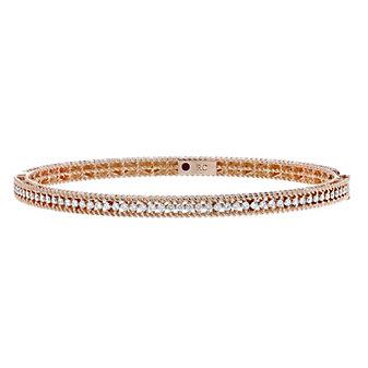 roberto coin 18k rose gold diamond braided symphony hinged bangle bracelet