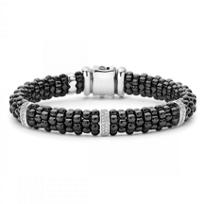 Lagos_Sterling_Silver_Round_Diamond_3_Bar_Black_Caviar_Beaded_Bracelet