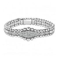 "Lagos_Sterling_Silver_Diamond_Caviar_Spark_Beaded_Bracelet,_7.5"""