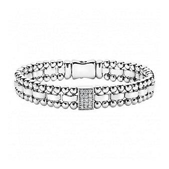 Lagos Sterling Silver Caviar Spark Diamond Rectangular Station Bracelet