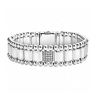 Lagos Sterling Silver Caviar Spark 1 Diamond Pave Link Bracelet