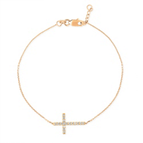 14K_Rose_Gold_Diamond_Side_Cross_Bracelet