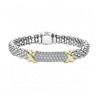 Lagos_Sterling_Silver_Caviar_Diamond_Lux_Pave_Bracelet_with_18K_Yellow_Gold_X_Stations