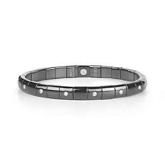roberto demeglio 18k white gold & black ceramic bezel set diamond stretch bracelet
