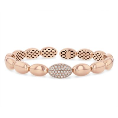 18k rose gold pave diamond station oval bubble flexible cuff bracelet