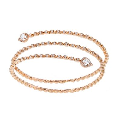 18k rose gold diamond 3 row spiral spring bracelet