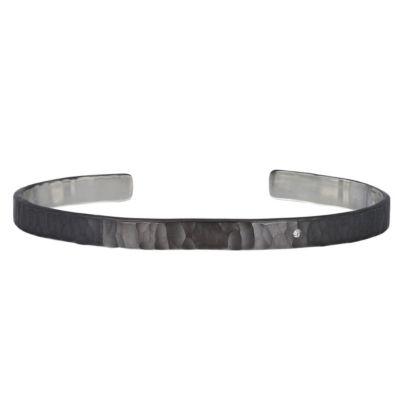toby pomeroy sterling silver diamond matte black cuff bracelet
