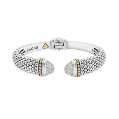sterling silver & 18k yellow gold lagos diamonds & caviar diamond hinge cuff bracelet