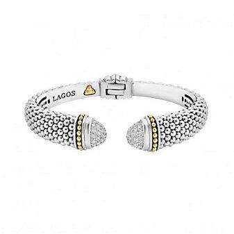 sterling silver & 18k yellow gold lagos diamonds & caviar diamond hinge cuff bracelet