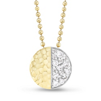 Phillips_House_14K_Two-Tone_Contrast_Diamond_Hammered_Circle_Pendant