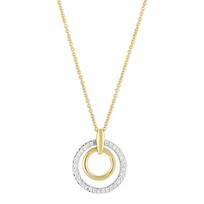 """14K_Yellow_&_White_Gold_Diamond_Double_Circle_Pendant,_18"""""""