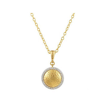 Gurhan 24K Yellow Gold Diamond Lentil Pendant