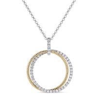 """14k_yellow_and_white_gold_diamond_double_circle_pendant,_18"""""""