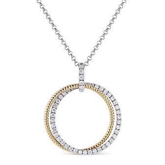 """14k yellow and white gold diamond double circle pendant, 18"""""""