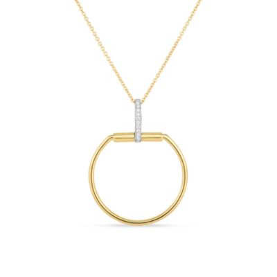 roberto coin 18k yellow & white gold diamond classic parisienne pendant, 18""