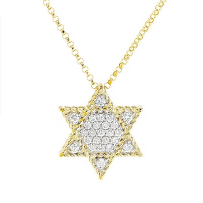 roberto coin 18k yellow & white gold diamond pave star of david pendant, 18""