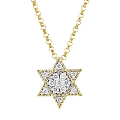roberto coin 18k yellow gold diamond star of david necklace