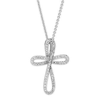 14K White Gold Diamond Palm Cross Pendant
