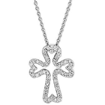 Roberto Coin 18K White Gold Diamond Cross Pendant, 0.15cttw