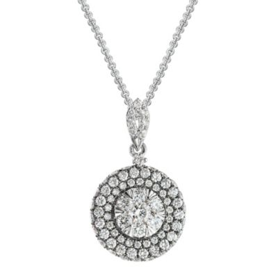 14K White Gold Round Diamond Cluster Pendant
