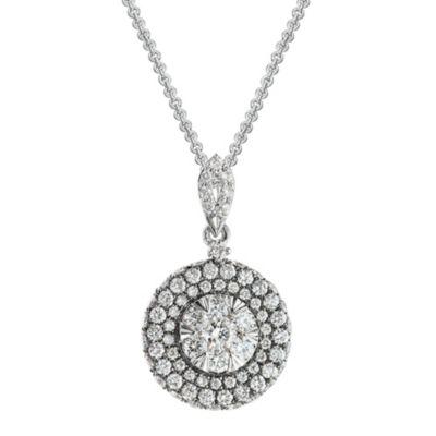 14K White Gold Round Diamond Cluster Pendant
