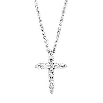 14K White Gold Diamond Cross Pendant, 0.14cttw