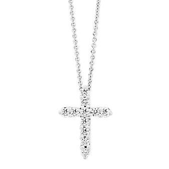 14K White Gold Diamond Cross Pendant, 0.26cttw