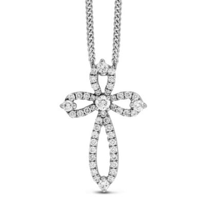 14K White Gold Diamond Cross Pendant, 0.36cttw