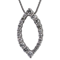 14K_White_Gold_Diamond_Navette_Shape_Pendant,_18""