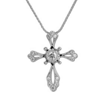 14K_White_Gold_Diamond_Milgrain_Edge_Cross_Pendant,_18""
