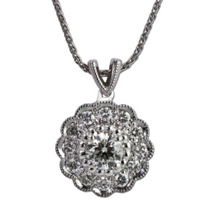 14K_White_Gold_Diamond_Flower_Pendant,_18""