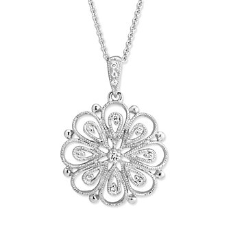 14K White Gold Diamond Filigree Flower Pendant, 0.06cttw