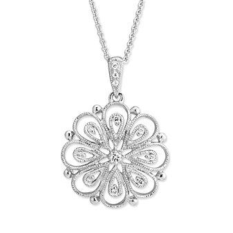 14K White Gold Diamond Filigree Flower Pendant, 0.06cttw