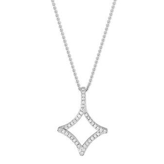 "14K White Gold Kite Shaped Diamond Pendant, 18"""