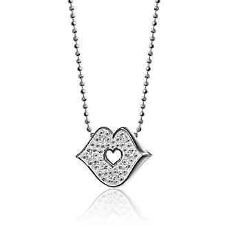 Alex Woo 14K White Gold Little Princess Kiss Pendant