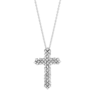 18K White Gold Diamond Cross Pendant, 1.31cttw