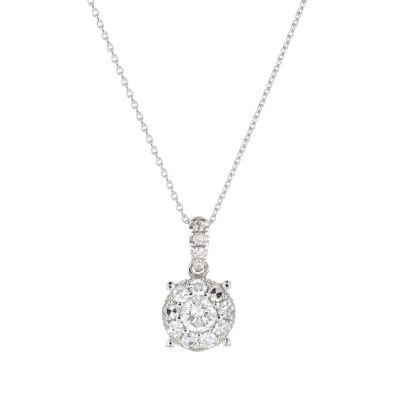 18k white gold round diamond cluster pendant