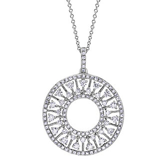 14K White Gold Round Diamond Open Circle Pendant