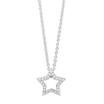 14K White Gold Diamond Open Star Pendant